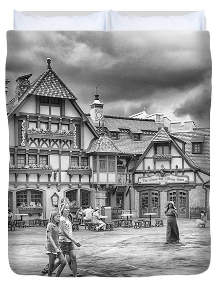 Duvet Cover featuring the photograph Pinocchio's Village Haus by Howard Salmon