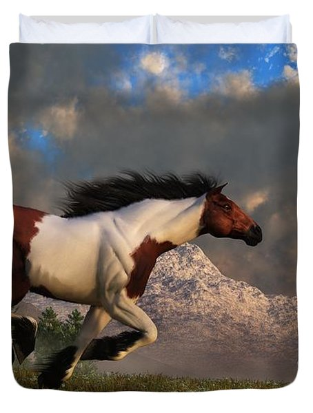 Duvet Cover featuring the digital art Pinto Mustang Galloping by Daniel Eskridge
