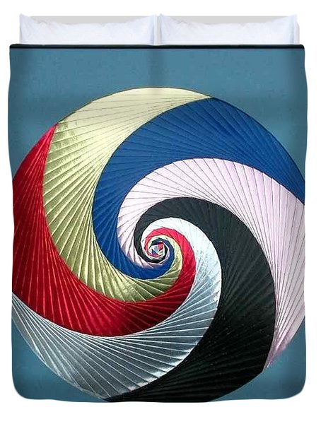 Duvet Cover featuring the mixed media Pinwheel by Ron Davidson