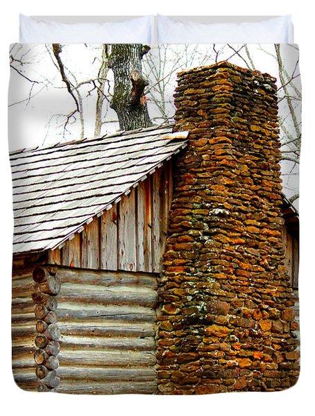 Pioneer Log Cabin Chimney Duvet Cover by Kathy  White