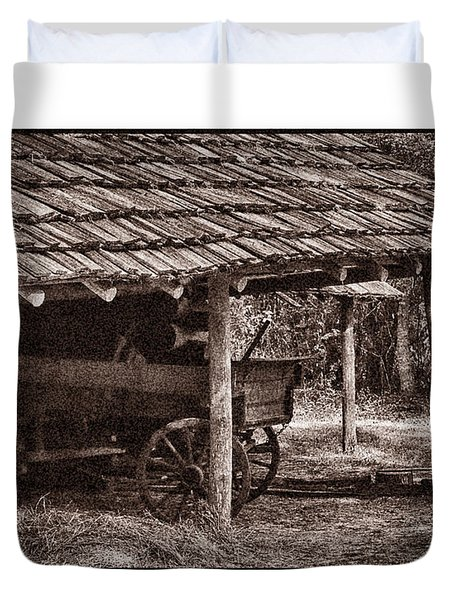 Pioneer Shed Calotype Duvet Cover by Travis Burgess