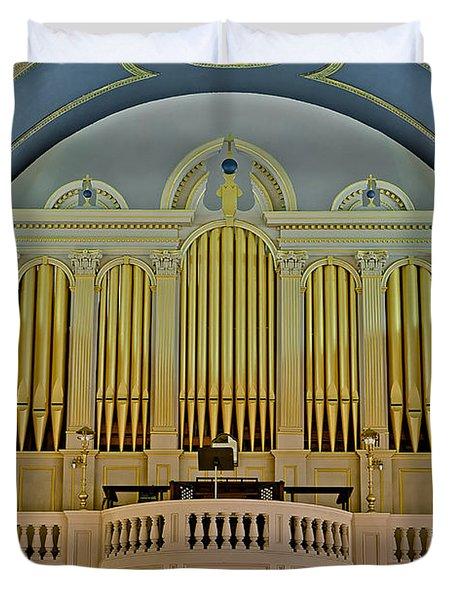 Pipe Organ At Saint Michaels Duvet Cover by Susan Candelario