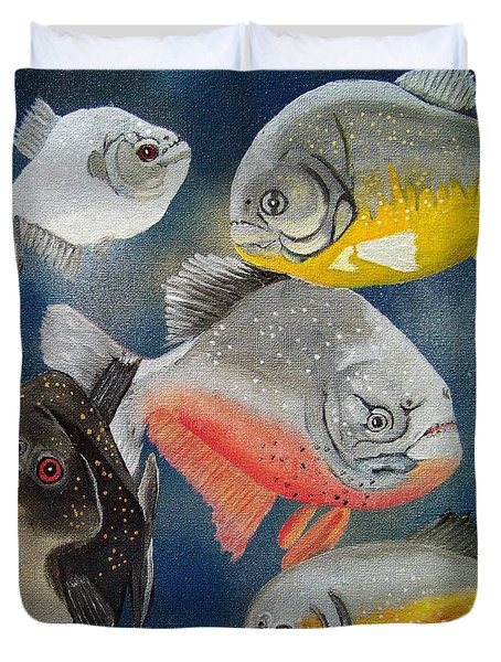 Pirahna  Fish Duvet Cover by Debbie LaFrance