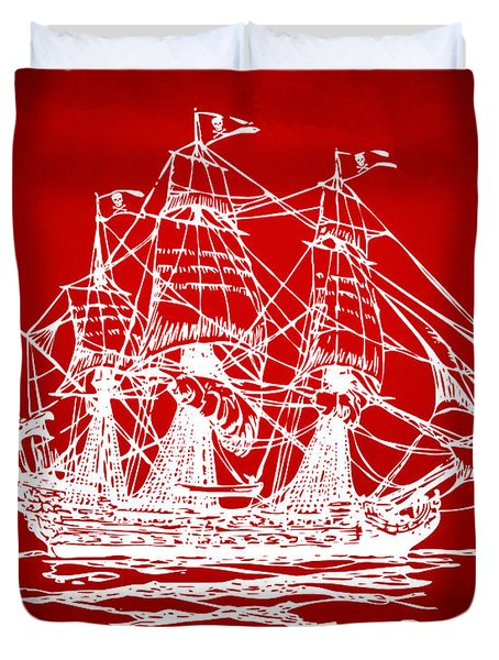 Pirate Ship Artwork - Red Duvet Cover by Nikki Marie Smith