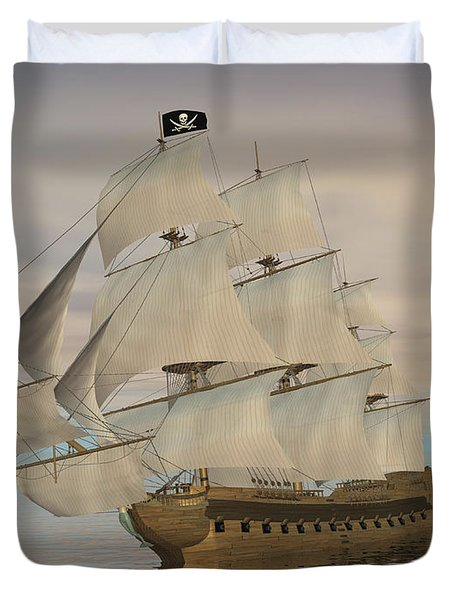 Pirate Ship With Black Jolly Roger Flag Duvet Cover