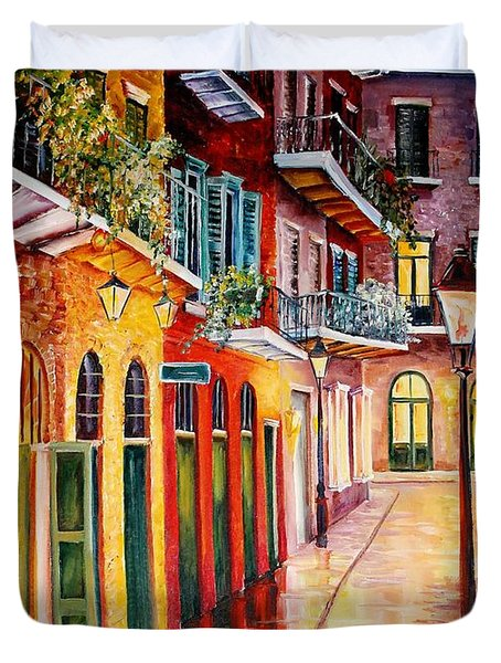 Pirates Alley By Night Duvet Cover by Diane Millsap