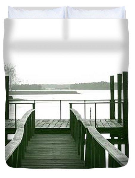 Pirate's Cove Pier In Monochrome Duvet Cover