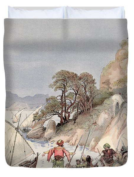 Pirates From The Barbary Coast Capturin Gslaves On The Mediterranean Coast Duvet Cover by Albert Robida