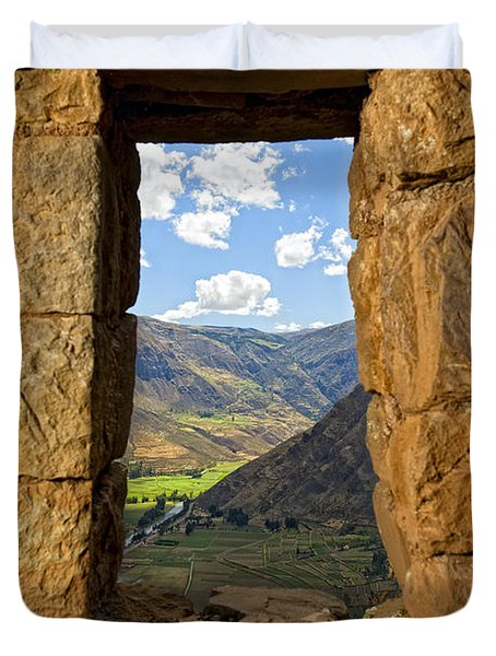 Pisac Ruins Duvet Cover by Alexey Stiop