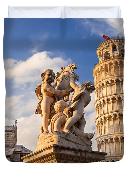 Pisa's Leaning Tower Duvet Cover by Brian Jannsen