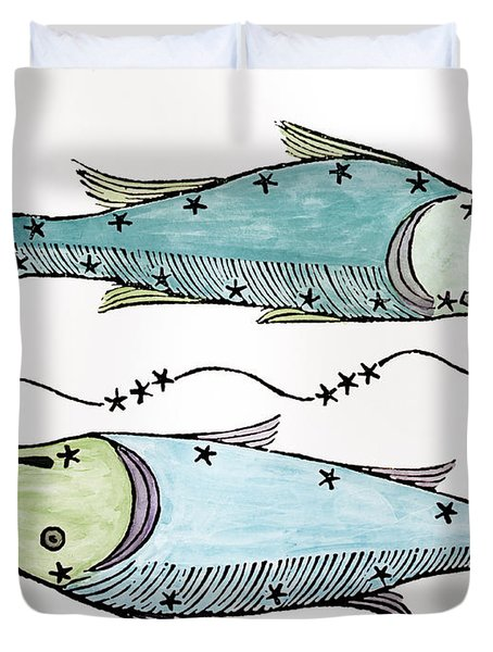 Pisces An Illustration Duvet Cover by Italian School