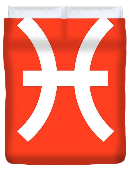 Pisces Zodiac Sign White Duvet Cover