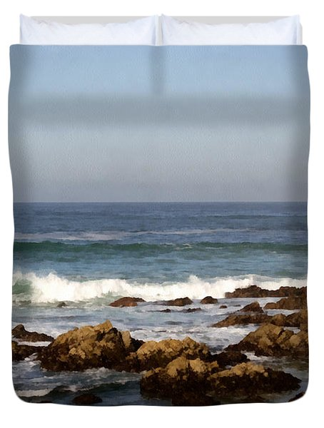 Pismo Beach Seascape Duvet Cover by Barbara Snyder