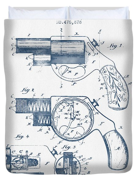 Pistol Patent From 1892 -  Blue Ink Duvet Cover