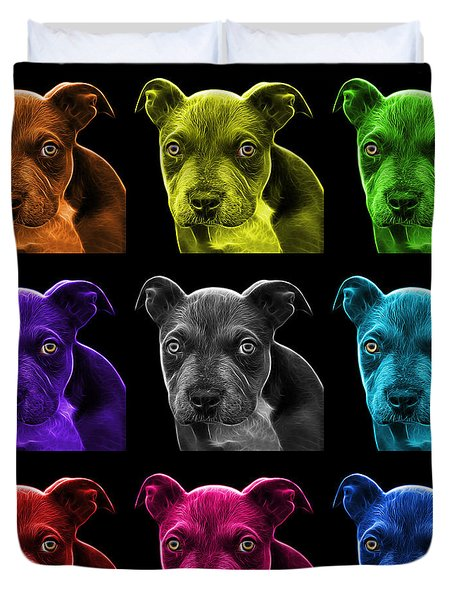 Pitbull Puppy Pop Art - 7085 Bb - M Duvet Cover by James Ahn
