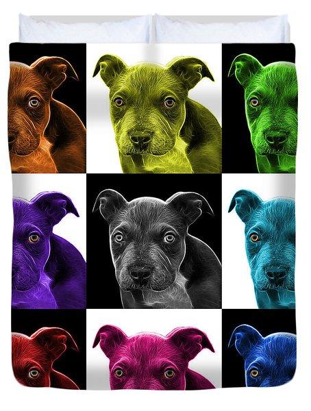 Pitbull Puppy Pop Art - 7085 V1 - M Duvet Cover by James Ahn