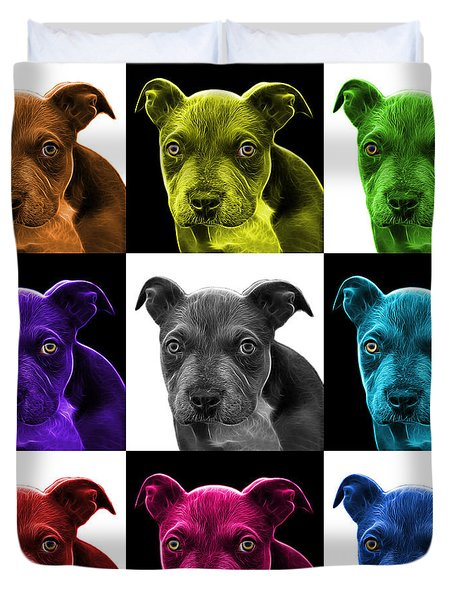 Pitbull Puppy Pop Art - 7085 V2 - M Duvet Cover by James Ahn