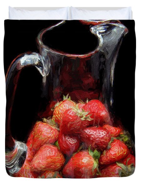 Duvet Cover featuring the photograph Pitcher Of Strawberries by Andee Design