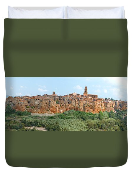 Duvet Cover featuring the photograph Pitigliano Panorama by Alan Socolik