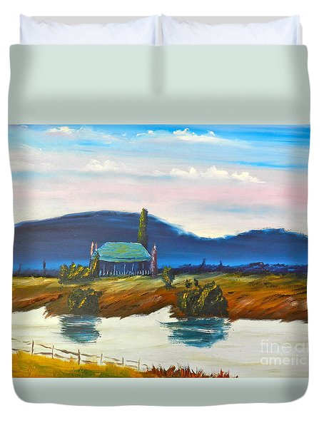 Duvet Cover featuring the painting Pittown by Pamela  Meredith