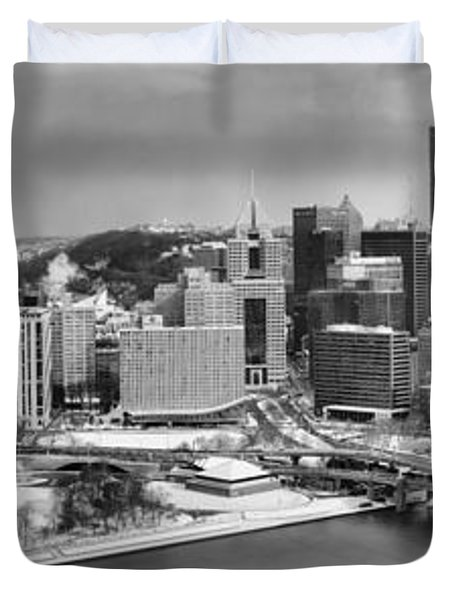 Pittsburgh Black And White Winter Panorama Duvet Cover by Adam Jewell