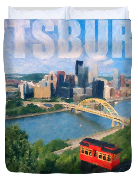 Pittsburgh Digital Painting Duvet Cover by Sharon Dominick