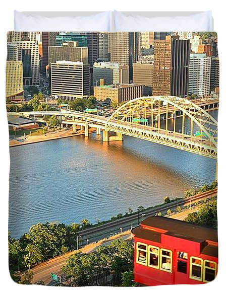 Pittsburgh Duquesne Incline Duvet Cover by Adam Jewell