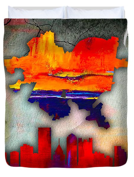 Pittsburgh Map And Skyline Watercolor Duvet Cover by Marvin Blaine