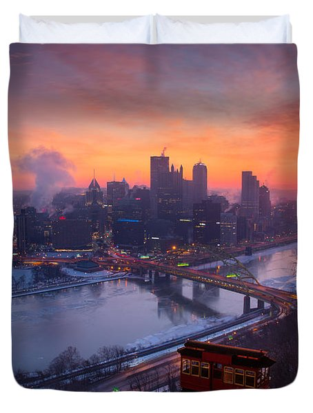 Pittsburgh Skyline Winter 2 Duvet Cover by Emmanuel Panagiotakis