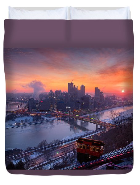 Pittsburgh Skyline Winter 2 Duvet Cover