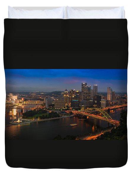 Pittsburgh Pa Duvet Cover by Steve Gadomski