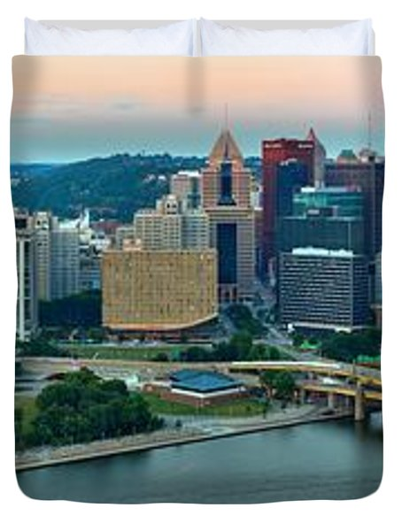 Pittsburgh Panorama At Dusk Duvet Cover by Adam Jewell
