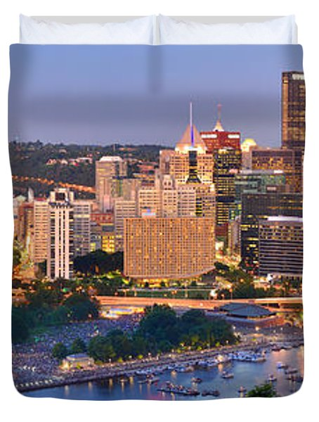 Pittsburgh Pennsylvania Skyline At Dusk Sunset Panorama Duvet Cover by Jon Holiday