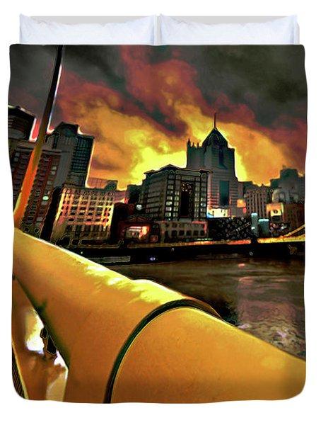 Pittsburgh Skyline Duvet Cover