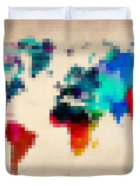 Pixelated World Map Duvet Cover by Naxart Studio