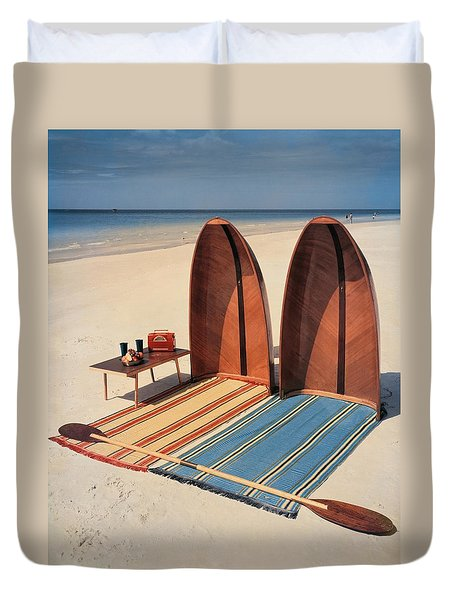 Pixie Collapsible Boat On The Beach Duvet Cover