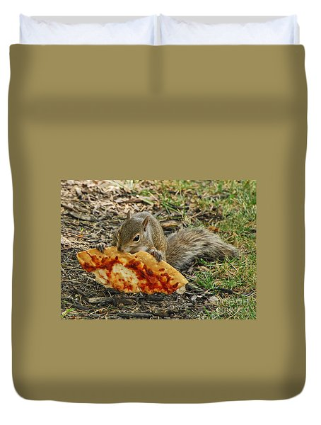 Pizza For  Lunch Duvet Cover by Mary Carol Story