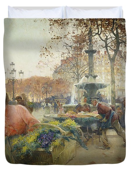 Place Du Theatre Francais Paris Duvet Cover by Eugene Galien-Laloue