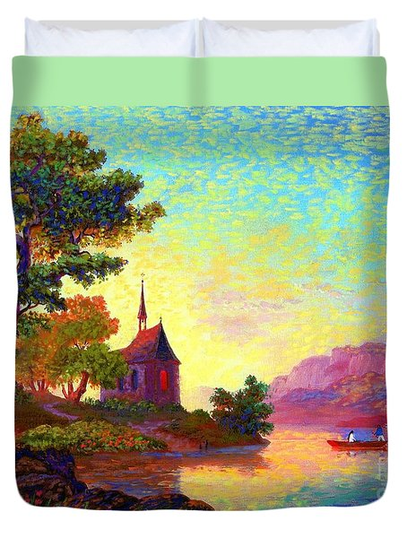 Duvet Cover featuring the painting Beautiful Church, Place Of Welcome by Jane Small