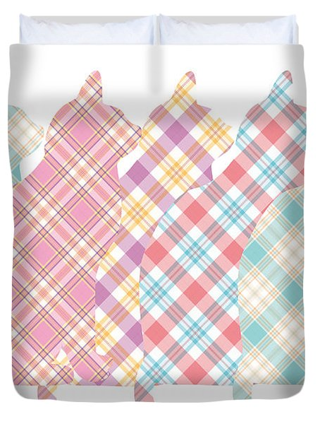 Plaid Cats Duvet Cover by Peggy Collins