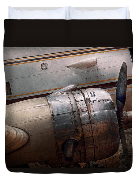 Duvet Cover featuring the photograph Plane - A Little Rough Around The Edges by Mike Savad