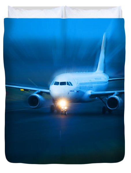 Plane Takes Of At Dusk Duvet Cover by Michal Bednarek