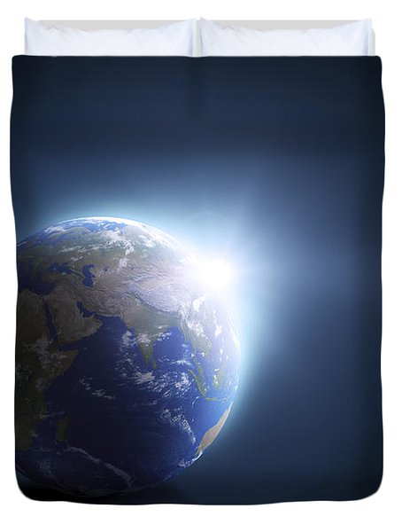 Planet Earth And Sunlight On A Dark Duvet Cover by Evgeny Kuklev