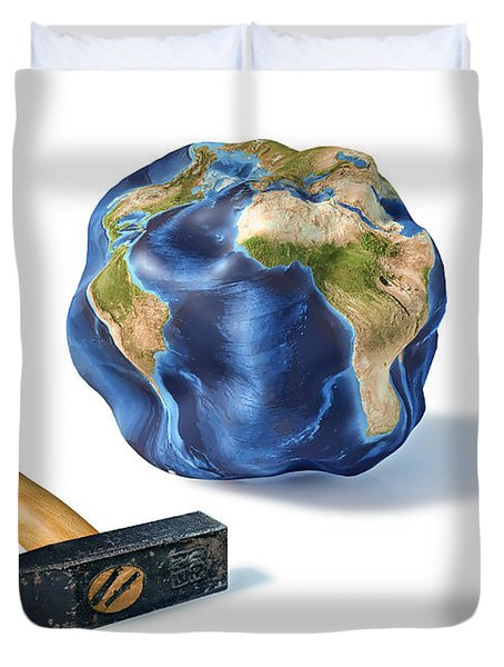 Planet Earth Smashed By A Hammer Duvet Cover by Leonello Calvetti