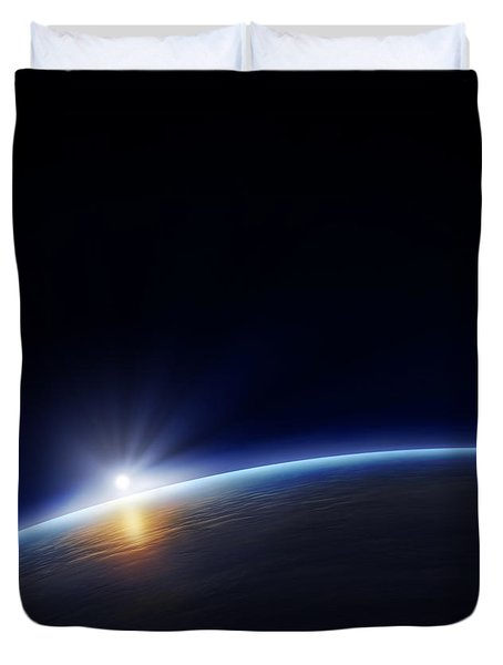 Planet Earth With Rising Sun Duvet Cover