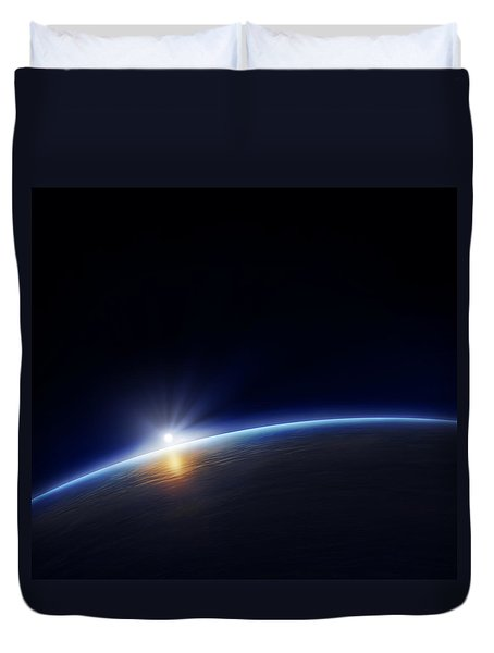 Planet Earth With Rising Sun Duvet Cover by Johan Swanepoel