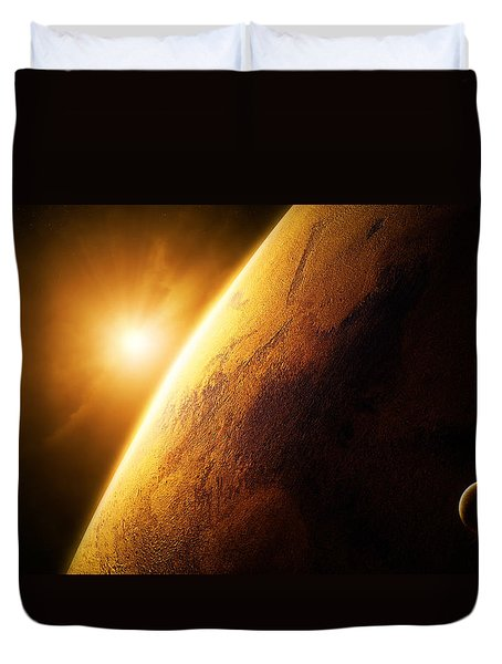 Planet Mars Close-up With Sunrise Duvet Cover by Johan Swanepoel