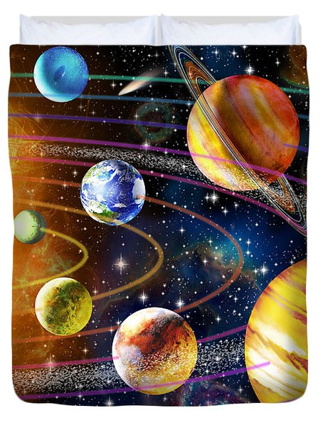 Planetary System Duvet Cover by Adrian Chesterman