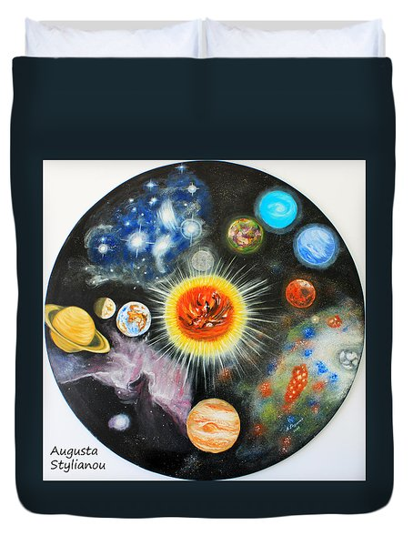 Planets And Nebulae In A Day Duvet Cover by Augusta Stylianou