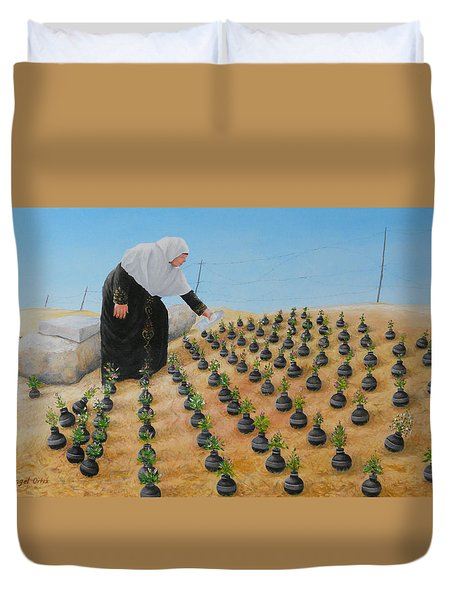 Planting Flowers Duvet Cover by Angel Ortiz
